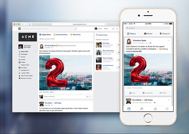 Facebook at work goes live social networks linkedin rival begins tolling out to select partners
